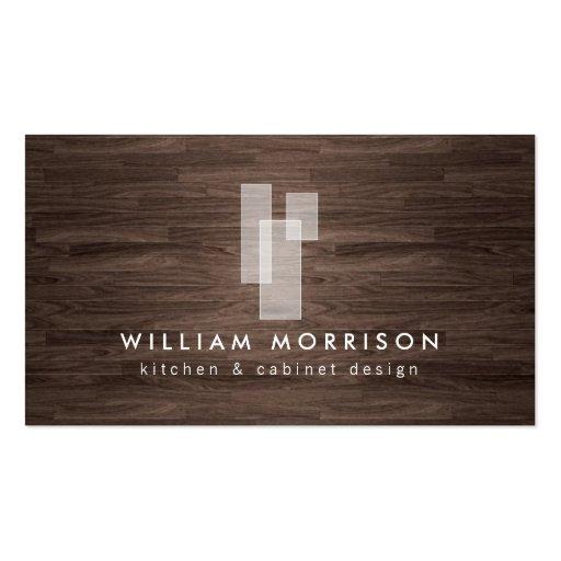 Logo architectural moderne sur la fibre de bois fo modèle de carte de visite