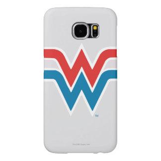 Logo blanc de femme de merveille et bleu rouge
