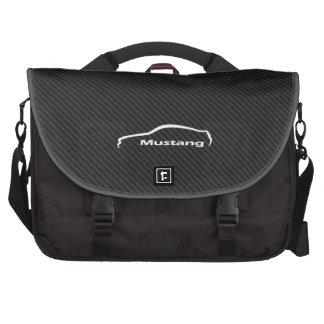 Logo blanc de traçage de mustang sac pour ordinateur portable
