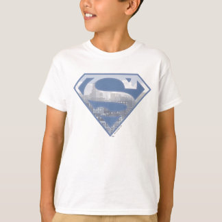 Logo bleu-clair de ville du S-Bouclier   de T-shirt