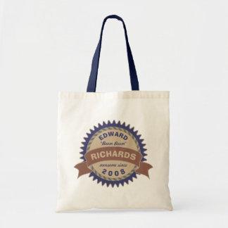 Logo bleu d'anniversaire de Brown de monogramme de Sac De Toile