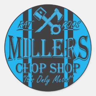 Logo bleu de hot rod de rayures de solides autocollants ronds