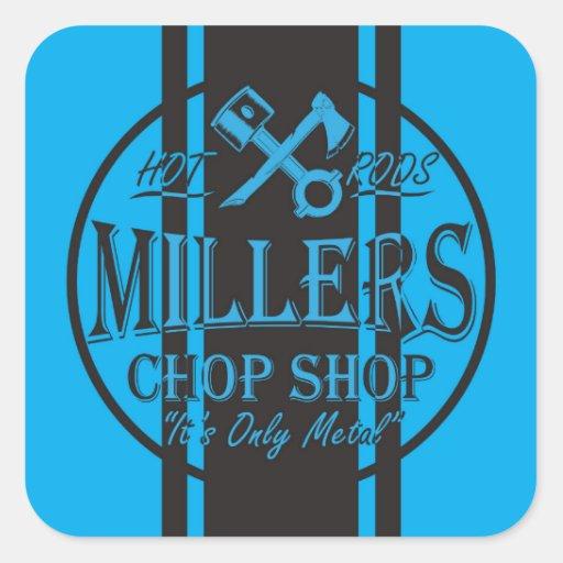 Logo bleu de hot rod de rayures de solides stickers carrés