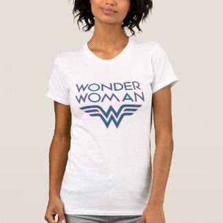 Logo bleu et rouge de femme de merveille rétro t-shirt