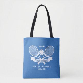 Logo bleu fait sur commande personnalisé par boule tote bag