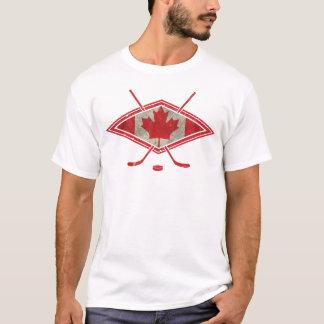 Logo canadien de drapeau d'hockey t-shirt