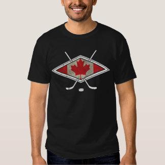Logo canadien de drapeau d'hockey t-shirts