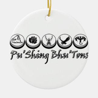 Logo classique monochrome de bouton ornement rond en céramique