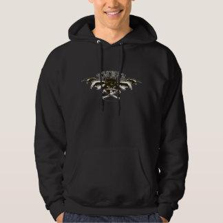 Logo d'ailes chauve-souris de capot de crâne de veste à capuche