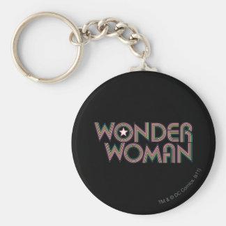 Logo d'arc-en-ciel de femme de merveille porte-clé rond