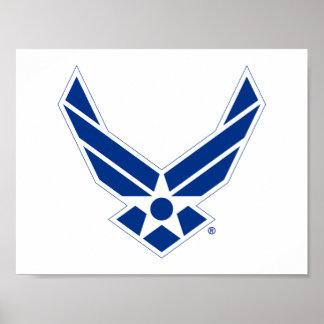 Logo d'armée de l'air des États-Unis - Bleu Poster