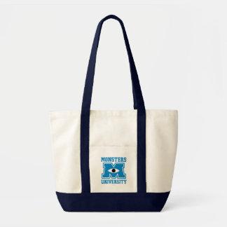 Logo de bleu d'université de monstres sacs fourre-tout