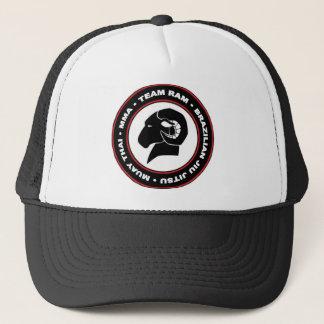 Logo de casquette de camionneur, noir et rouge