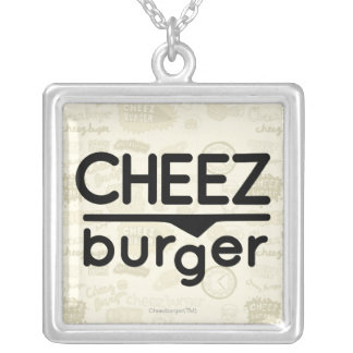 Logo de Cheezburger (noir) Pendentif Carré