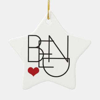 Logo de coeur de mot de l'Orégon de courbure Ornement Étoile En Céramique