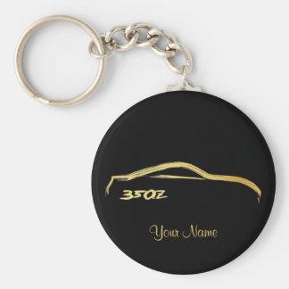 Logo de course de brosse d'or de Nissan 350Z Porte-clé Rond