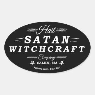 Logo de cru de la sorcellerie Co Salem mA de Satan Sticker Ovale