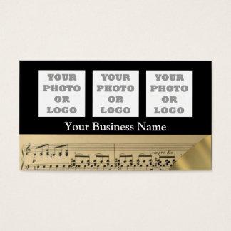 Logo de feuille et de société de musique cartes de visite