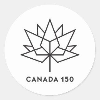 Logo de fonctionnaire du Canada 150 - contour noir Sticker Rond