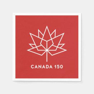 Logo de fonctionnaire du Canada 150 - rouge et Serviette Jetable