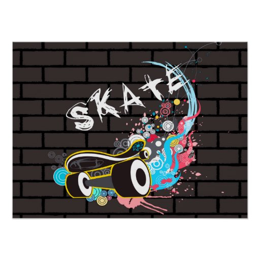 logo de graffiti de patin de mur de briques avec l poster. Black Bedroom Furniture Sets. Home Design Ideas