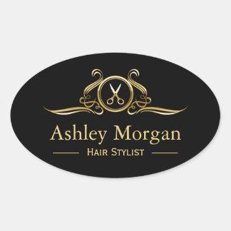 Logo de luxe de ciseaux de coupe de cheveux de sticker ovale