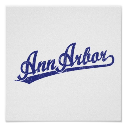 Logo de manuscrit d'Ann Arbor dans le bleu Posters