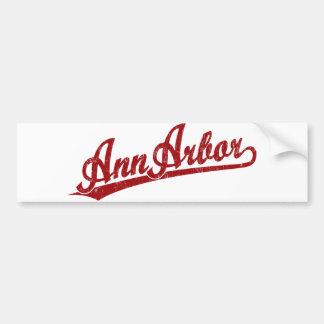 Logo de manuscrit d'Ann Arbor en rouge Autocollant Pour Voiture