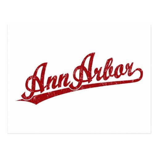 Logo de manuscrit d'Ann Arbor en rouge Cartes Postales