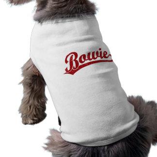 Logo de manuscrit de Bowie en rouge T-shirt Pour Chien