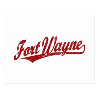 Logo de manuscrit de Fort Wayne en rouge affligé Carte Postale