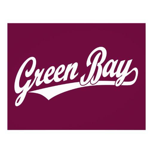Logo de manuscrit de Green Bay dans le blanc Prospectus Avec Motif