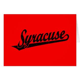 Logo de manuscrit de Syracuse dans le noir affligé Carte De Vœux