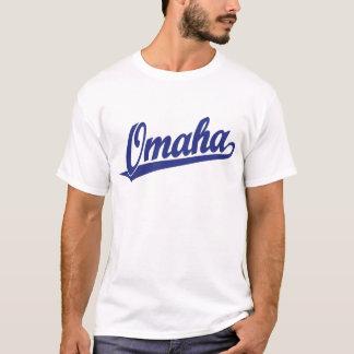 Logo de manuscrit d'Omaha dans le bleu T-shirt