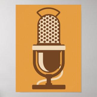 Logo de microphone de ruban poster