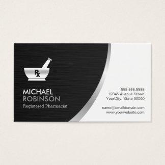 Logo de pharmacien de pharmacie - argent noir cartes de visite