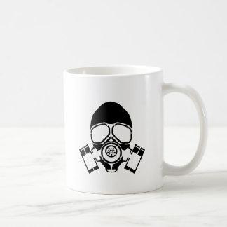 logo de pochoir de masque de gaz mug blanc