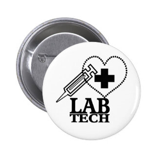 LOGO DE SERINGUE DE COEUR DE TECH DE LABORATOIRE - BADGE ROND 5 CM