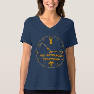 Logo de sportifs d'après-midi du V-Cou des femmes T-shirt