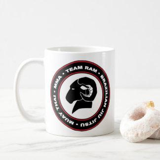Logo de tasse de café de RAM, noir et rouge