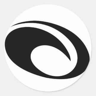 Logo de vague d'OMaui Sticker Rond