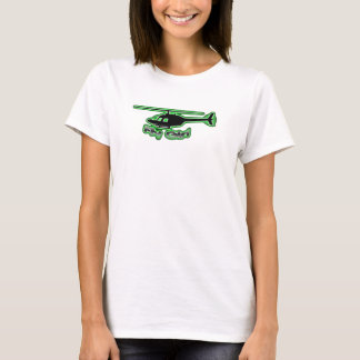 Logo de vert de Bébé-T d'hélicoptère de fille de T-shirt