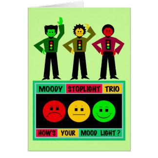 Logo déprimé de trio de feu d'arrêt avec des carte de vœux