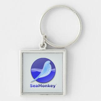 Logo des textes de SeaMonkey Porte-clé Carré Argenté
