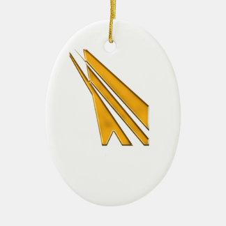 logo d'or ornement ovale en céramique