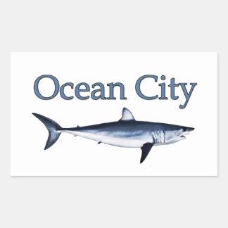 Logo du Maryland de ville d'océan (requin de mako) Sticker Rectangulaire