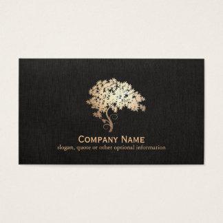 Logo holistique et naturel d'arbre de zen d'or de cartes de visite