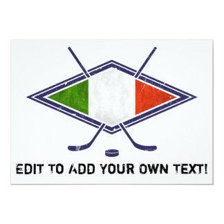 Logo italien de drapeau d'hockey carton d'invitation  12,7 cm x 17,78 cm