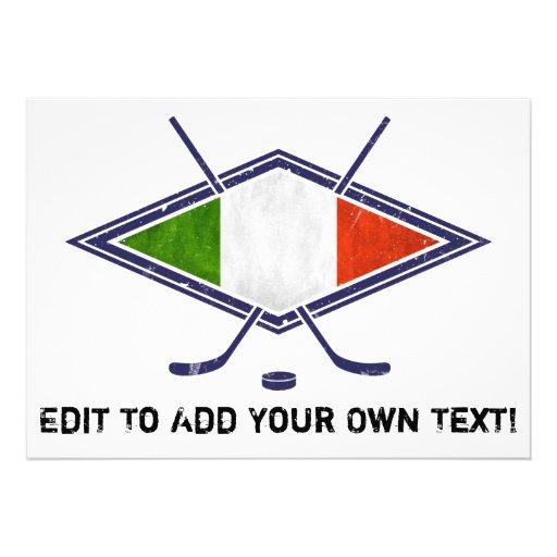 Logo italien de drapeau d'hockey faire-parts