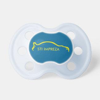Logo jaune de sihouette de STI Impreza Tétines Pour Bébé